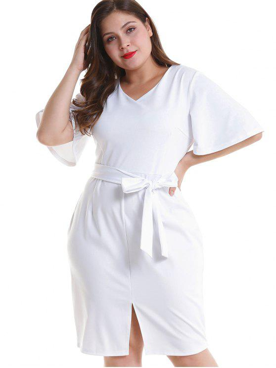 ladies Plus Size Belted Slit Fitted Dress - WHITE 3X