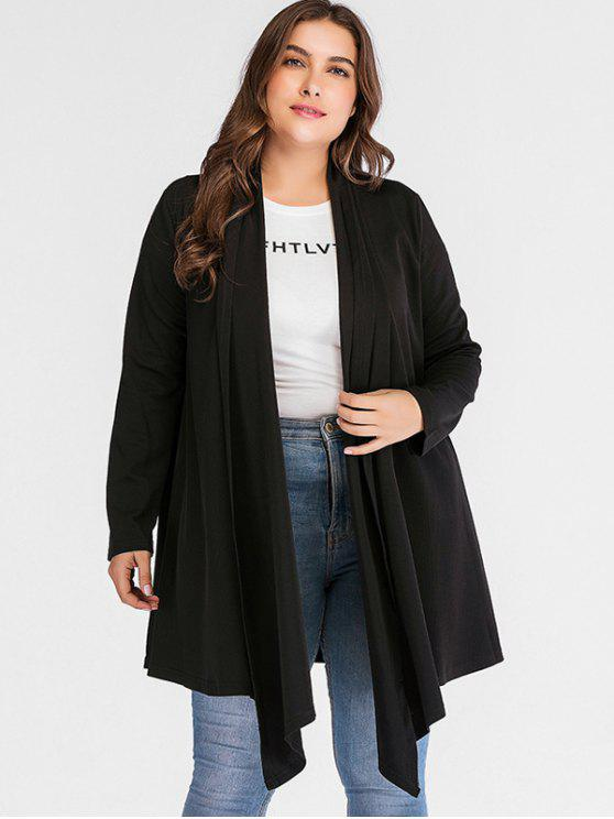 chic Ribbed Shawl Collar Plus Size Coat - BLACK 2X