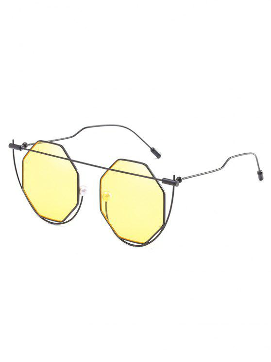 fancy Metal Frame Irregular Lens Novelty Sunglasses - CORN YELLOW