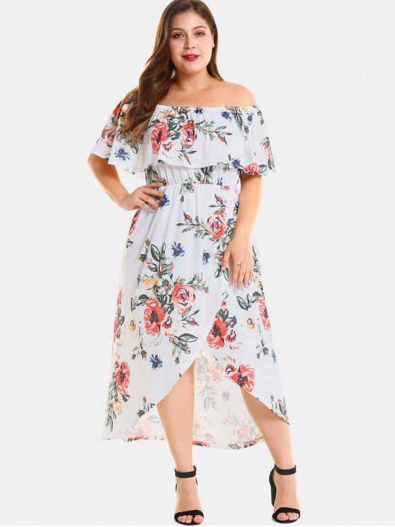 Plus Size Floral Slit Off Shoulder Dress RED WHITE