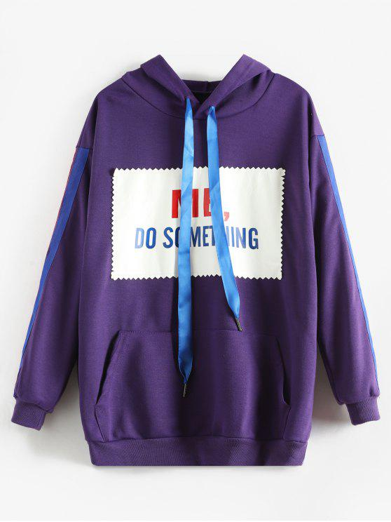 outfit Letter Graphic Striped Side Kangaroo Pocket Hoodie - PURPLE L