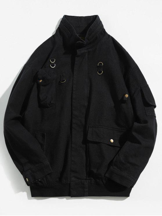Veste Solide avec Multi-Poches en Denim - Noir 2XL