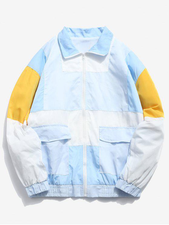 affordable Embroidery Color Block Patchwork Jacket - SEA BLUE L
