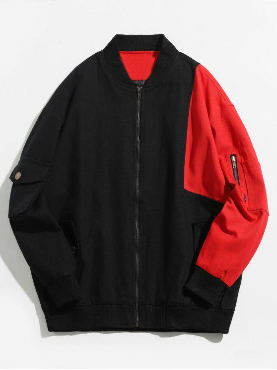 online Color Block Denim Bomber Jacket - BLACK 2XL