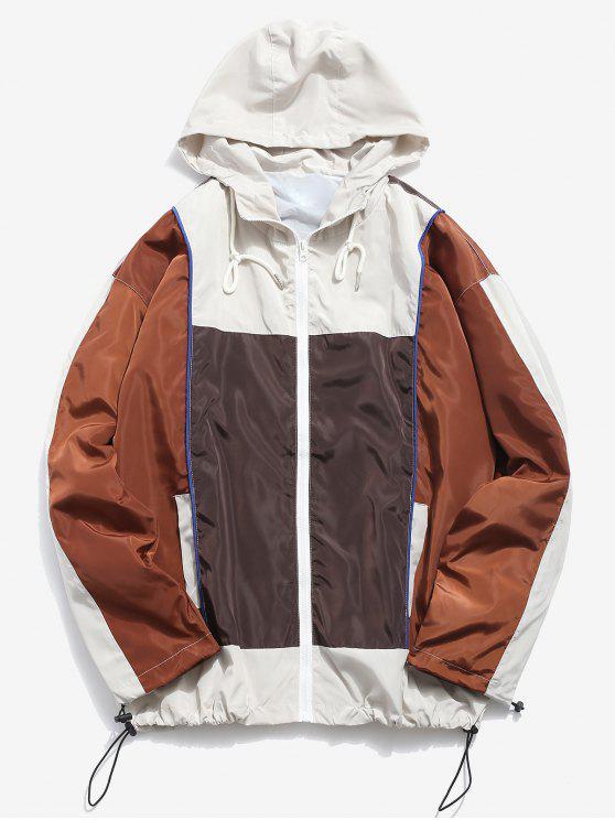 shops Color Block Hooded Windproof Jacket - MULTI-B 2XL