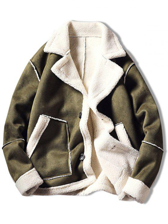 chic Color Block Fleece Casual Coat - ARMY GREEN S
