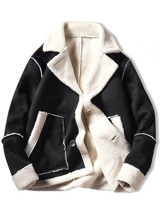fancy Color Block Fleece Casual Coat - BLACK XS