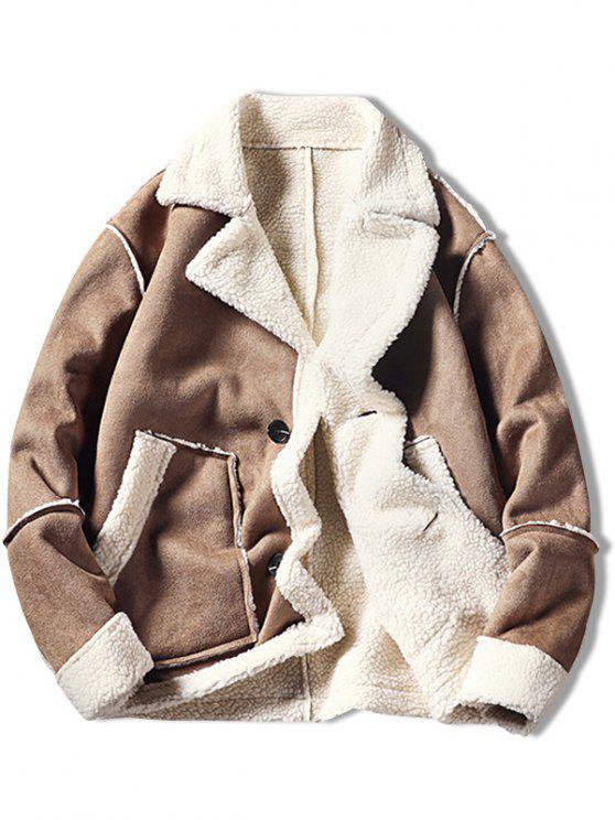 ladies Color Block Fleece Casual Coat - LIGHT KHAKI 2XL