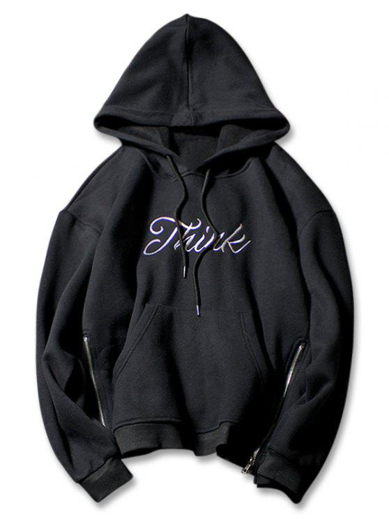 fashion Side Zip Letter Print Pouch Pocket Drawstring Hoodie - BLACK XL
