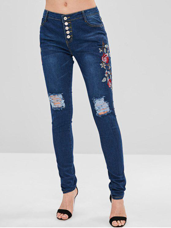 cd810e06d21 29% OFF] 2019 Floral Embroidered Button Fly Skinny Jeans In DEEP ...