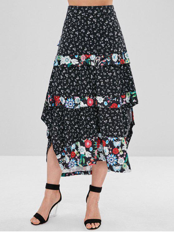 d66e70094f 34% OFF] 2019 Floral Print Tiered Ruffle Midi Skirt In BLACK   ZAFUL