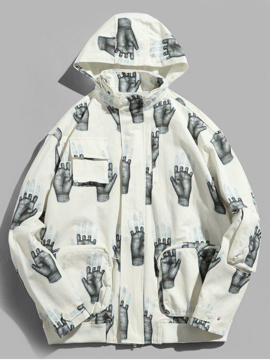 affordable Hands Print Pockets Hidden Hat Jacket - WHITE XL