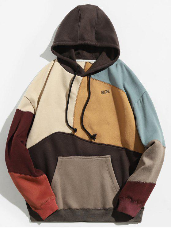 latest Colorblock Sewing Patchwork Fleece Hoodie - KHAKI 2XL