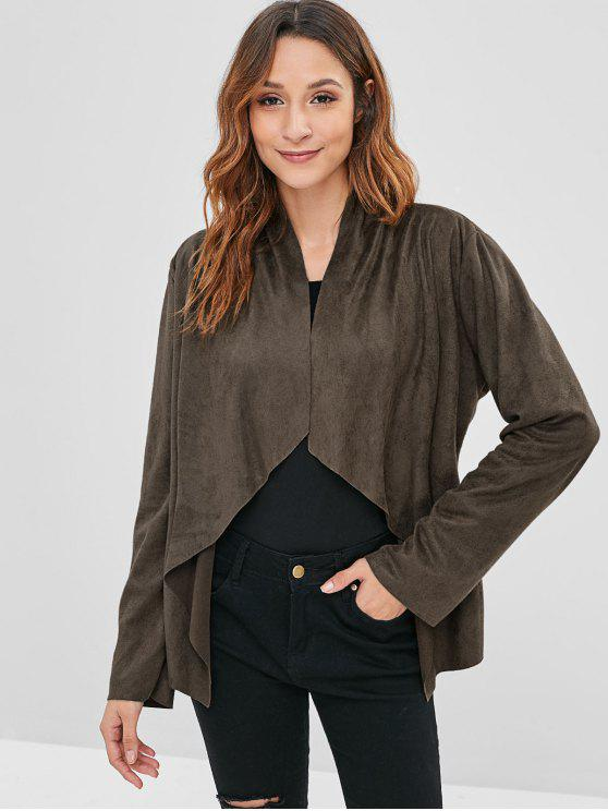 shop Open Front Faux Suede Jacket - DARK KHAKI S