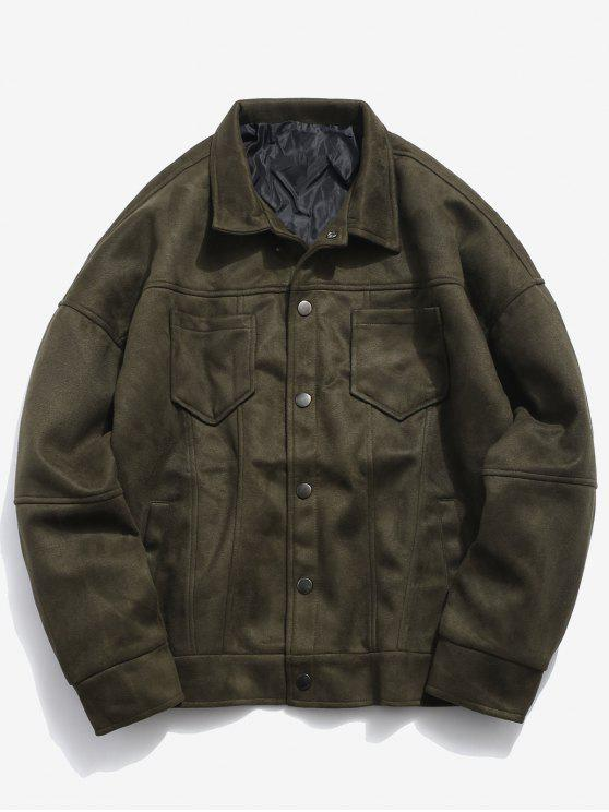 shop Single Breasted Suede Jacket - ARMY GREEN 2XL
