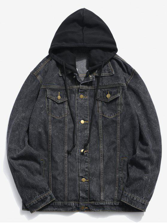 ladies Loose Fitting Detachable Hat Denim Jacket - BLACK S