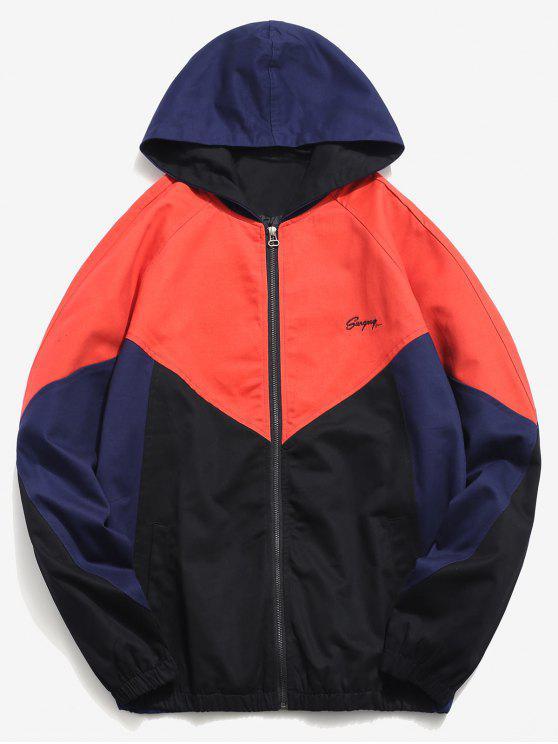 new Raglan Sleeve Zig Zag Splicing Jacket - ORANGE XL