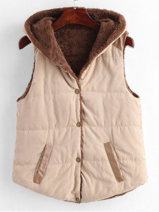 buy Faux Leather Panel Hooded Waistcoat - LIGHT KHAKI S