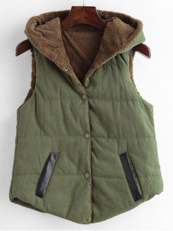 ladies Faux Leather Panel Hooded Waistcoat - ARMY GREEN M