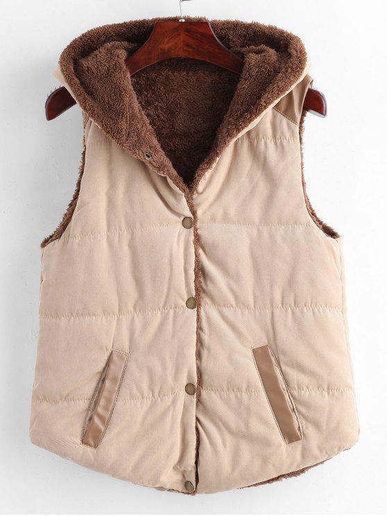 Panel de cuero de imitación con capucha chaleco - Caqui Claro XS