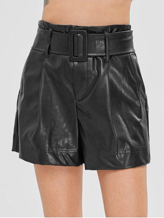 fancy Plain Belted Faux Leather Shorts - BLACK S