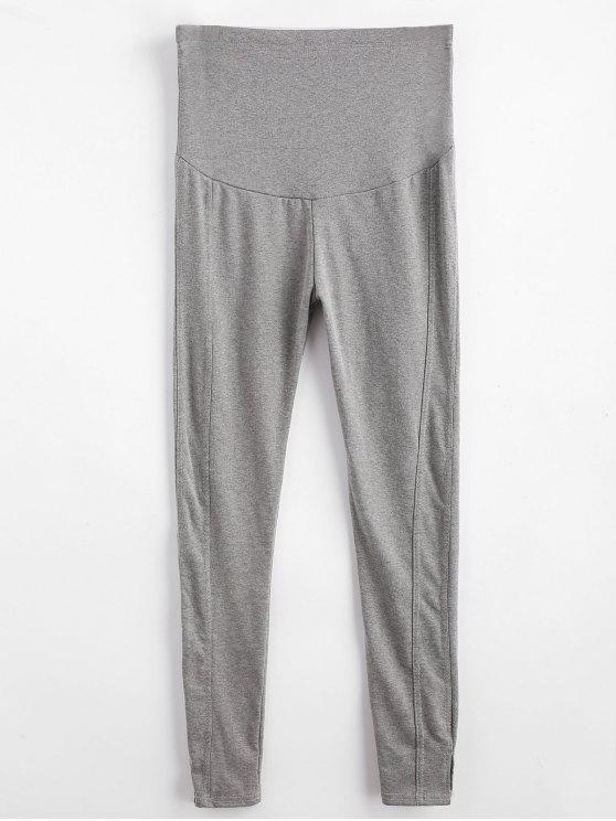 Legging Collant Fendu à Taille Haute - Gris 2XL