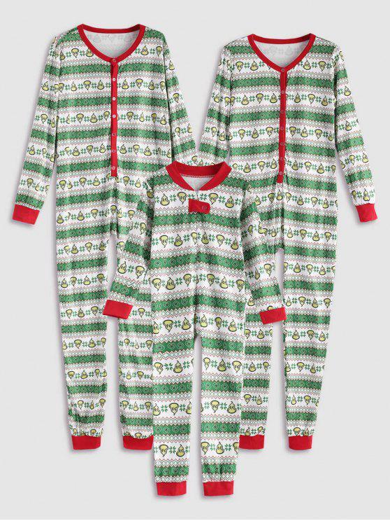 Pyjamas Onesie de Coeur Famille de Noël - Vert Enfant 8T