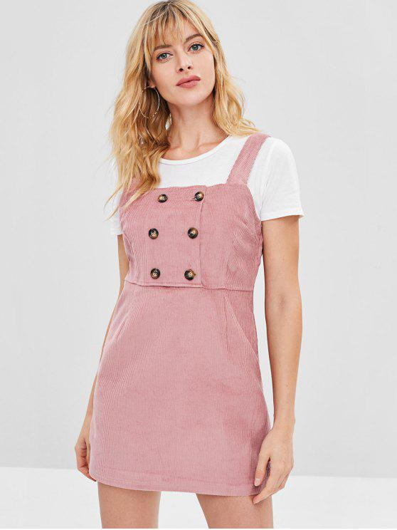 new Corduroy Short Fitted Dress - LIPSTICK PINK M