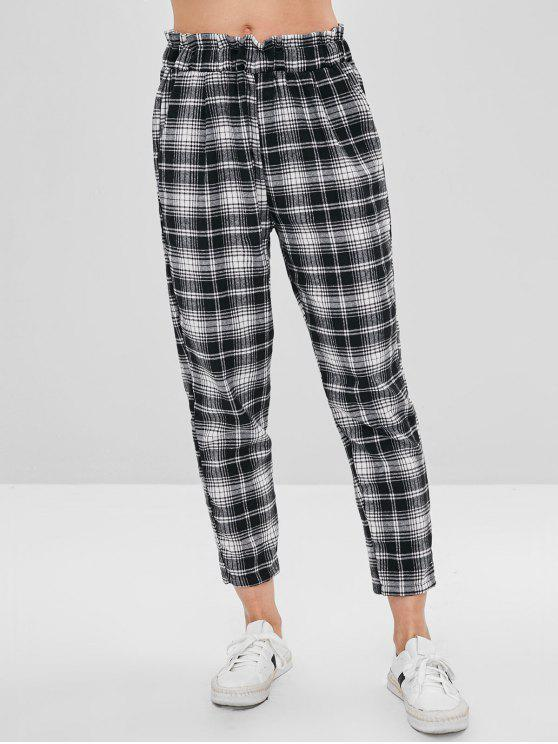 women High Waisted Checked Pants - MULTI M