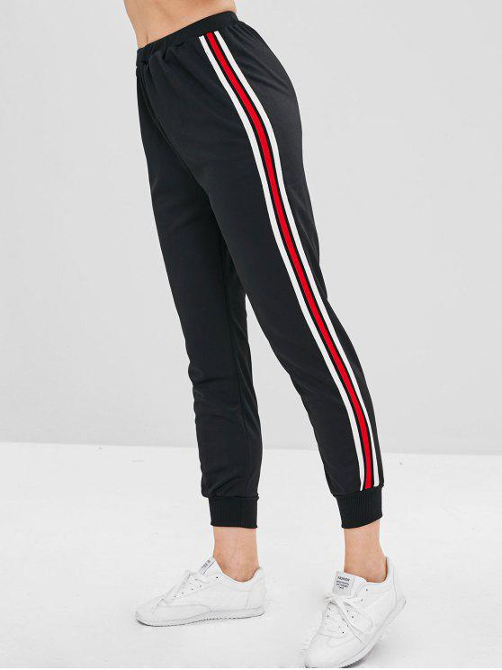 affordable High Waisted Striped Sports Pants - BLACK S