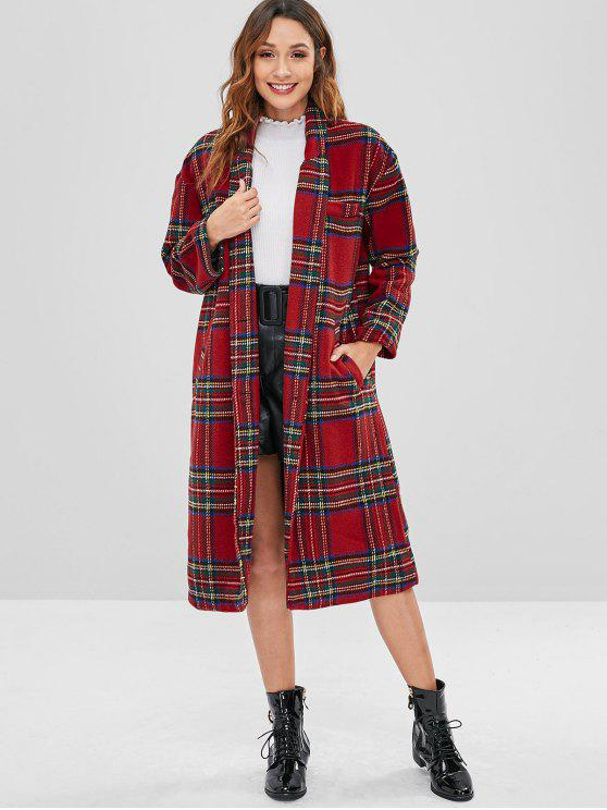 lady Checked Faux Wool Winter Coat - MULTI L