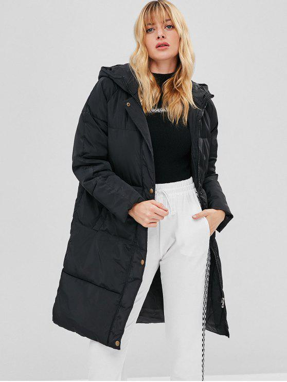 chic Hooded Zip Padded Puffer Coat - BLACK S
