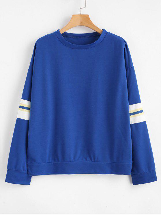 Sweat-shirt Décontracté Rayé à Goutte Epaule - Bleu L