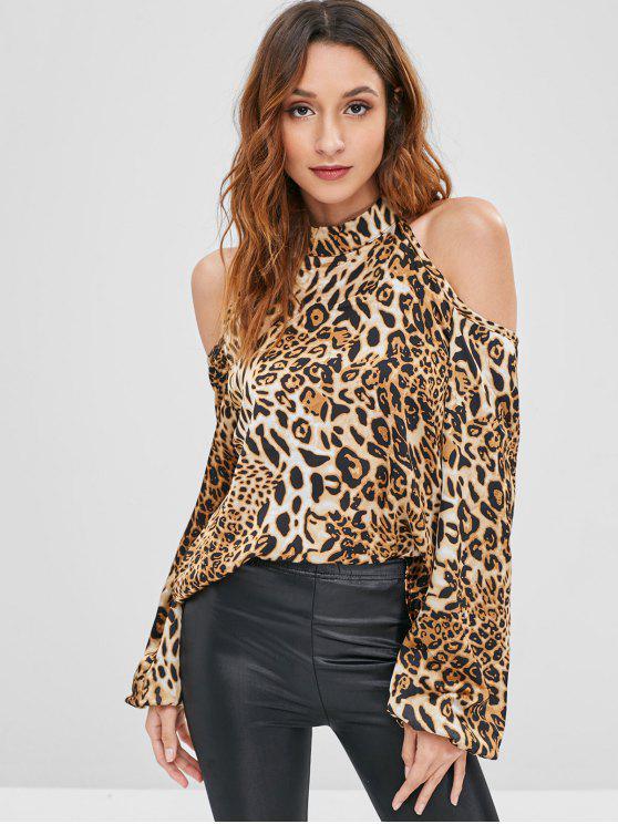 f95679d49d21c 24% OFF  2019 Cold Shoulder Leopard Print Blouse In LEOPARD