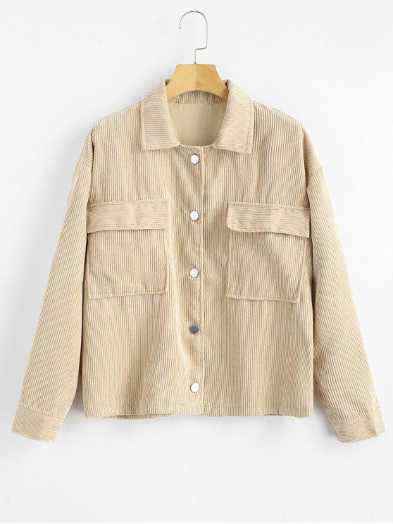 affordable Two Pockets Buttoned Corduroy Jacket - VANILLA XL