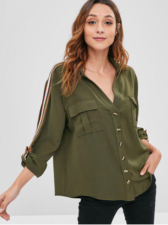 shop Striped Roll Tab Sleeve Shirt - ARMY GREEN L