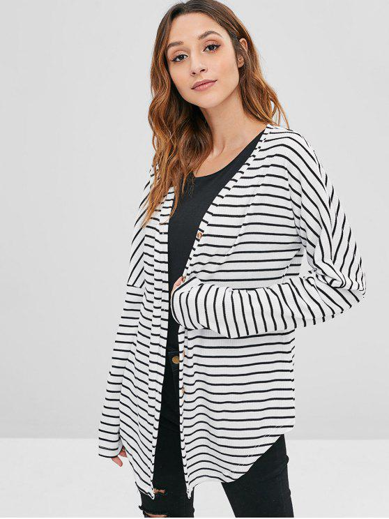 fancy ZAFUL Striped Ribbed Button Front Cardigan - MULTI L