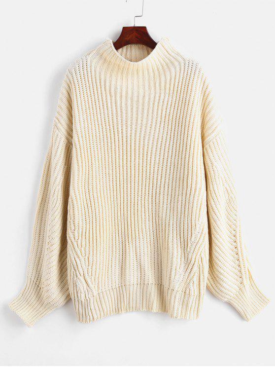 shop ZAFUL Mock Neck Oversized Sweater - WARM WHITE ONE SIZE