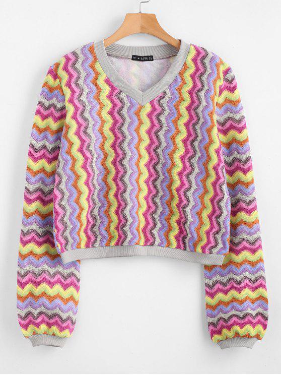 ZAFUL Sweat-shirt Zigzag Graphique à Col V - Multi XL