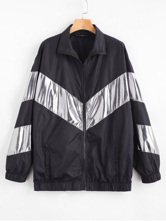 trendy ZAFUL Two Tone Loose Zip Up Coat - BLACK S