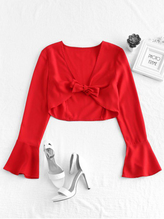 ZAFUL Flare Sleeve Tie Front Top - Rojo S