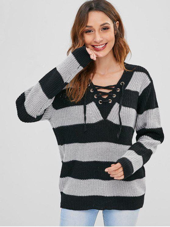 outfits Lace-up Striped Tunic Sweater - MULTI ONE SIZE