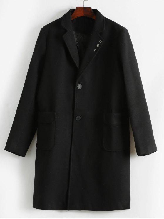 Abrigo de bolsillo solapa solapa del pecho - Negro XS