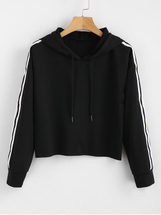 womens Striped Crop Hoodie - BLACK L