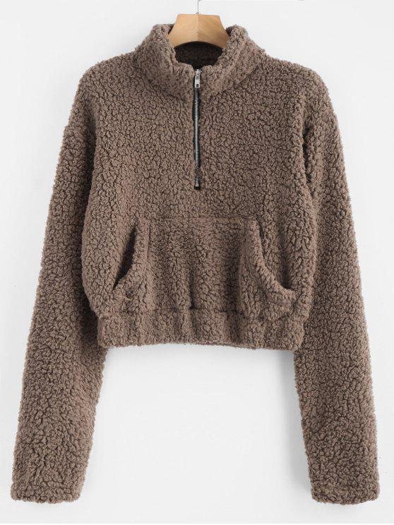 affordable Half Zip Fluffy Faux Shearling Teddy Sweatshirt - DEEP BROWN S