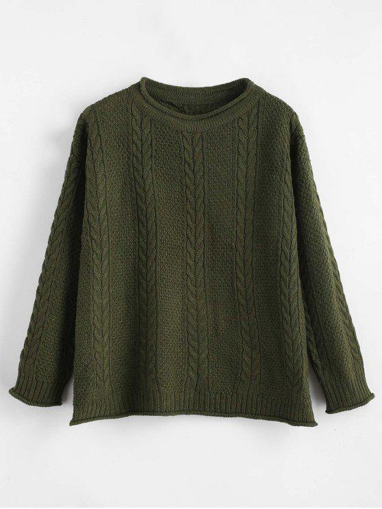 fancy Slit Cable Knit Drop Shoulder Sweater - ARMY GREEN ONE SIZE
