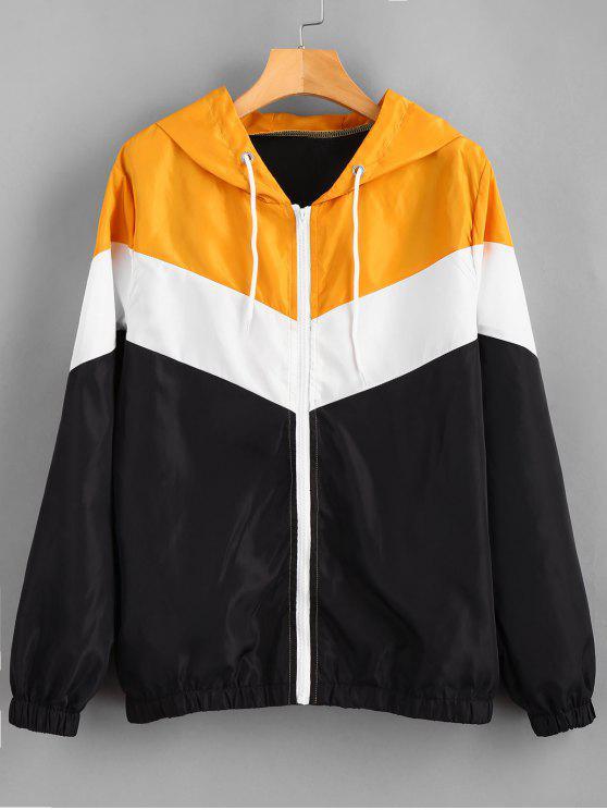 womens Color Block Windbreaker Zip Up Jacket - MULTI M