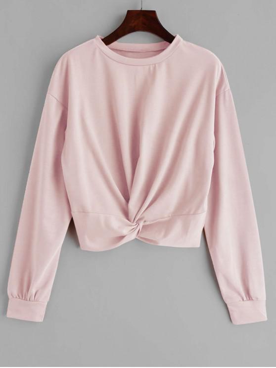 ZAFUL Sweat-shirt Simple Tordu en Avant - Rose Léger  XL