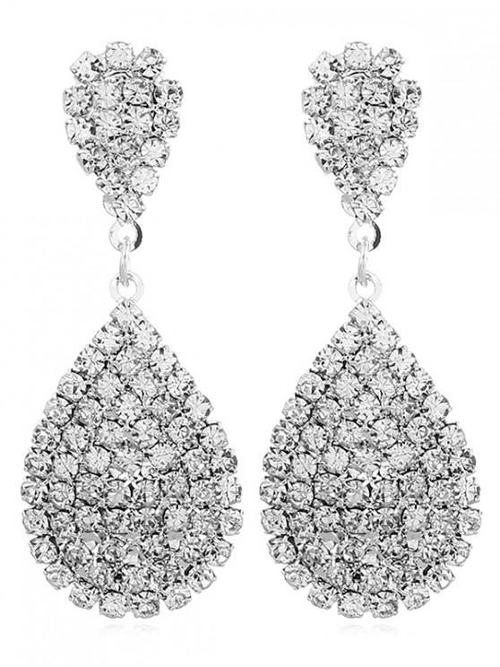 chic Faux Crystal Water Drop Shape Earrings - WHITE