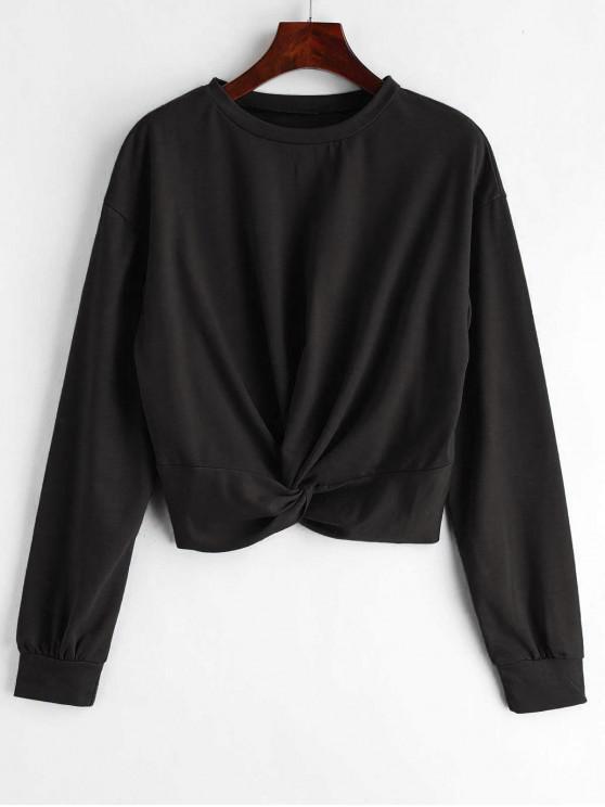 women's ZAFUL Twist Front Plain Sweatshirt - BLACK M